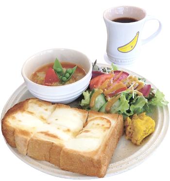 ▲チーズトースト(ドリンク、サラダ、スープ付きは1200円)