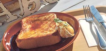 ▲「カフェオレフレンチトースト」(529円)。飲み物はセット料金でプラス216円