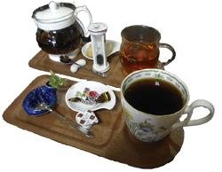 たっぷりサイズのコーヒーと紅茶