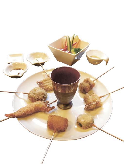 串揚げおまかせ7本 野菜スティック付き(1500円)