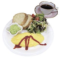 フワフワのオムレツやたっぷりのサラダ、アボガドディップと自家製パンの盛り合わせ「カンパニュープレート」700円(ランチメニュー)