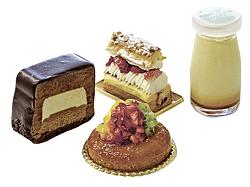 左から時計回りにサンミッシェル(486円)、マスカルポーネチーズと苺のシュークリーム(378円)、なめらかプリン(302円)、サバランエキゾティック(432円)