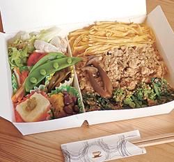 お弁当の一例「鶏そぼろ弁当」(800円)。見た目も美しい
