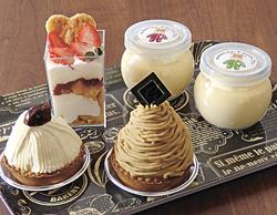 (手前右から時計回りに)「モンブラン」、「花豆モンブラン」、自家製ジャム入りの「こうみぱふぇ」(432円)、「おりじなるプリン」