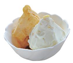 アンズの風味がぎゅっと詰まった「あんずのシャーベット」(左)と、レモンの皮の苦味がアクセントの「ソルティーレモン」(右)のダブル