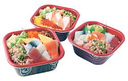 手前から時計回りに「満腹丼」「トロサーモン イクラ丼」「うみ丸丼」